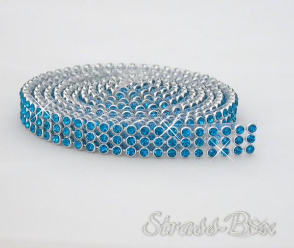 Hotfix MESH SS8 PEACOCK BLUE Band / 3 Reihen